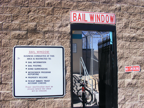 Bail window at the City of Las Vegas Jail